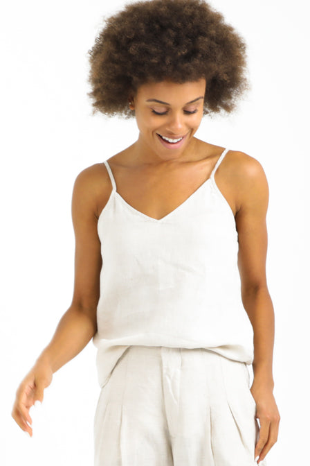 Lush Cami Top in Natural Linen