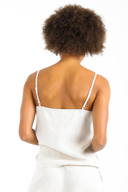 Lush Cami Top in Natural Linen back