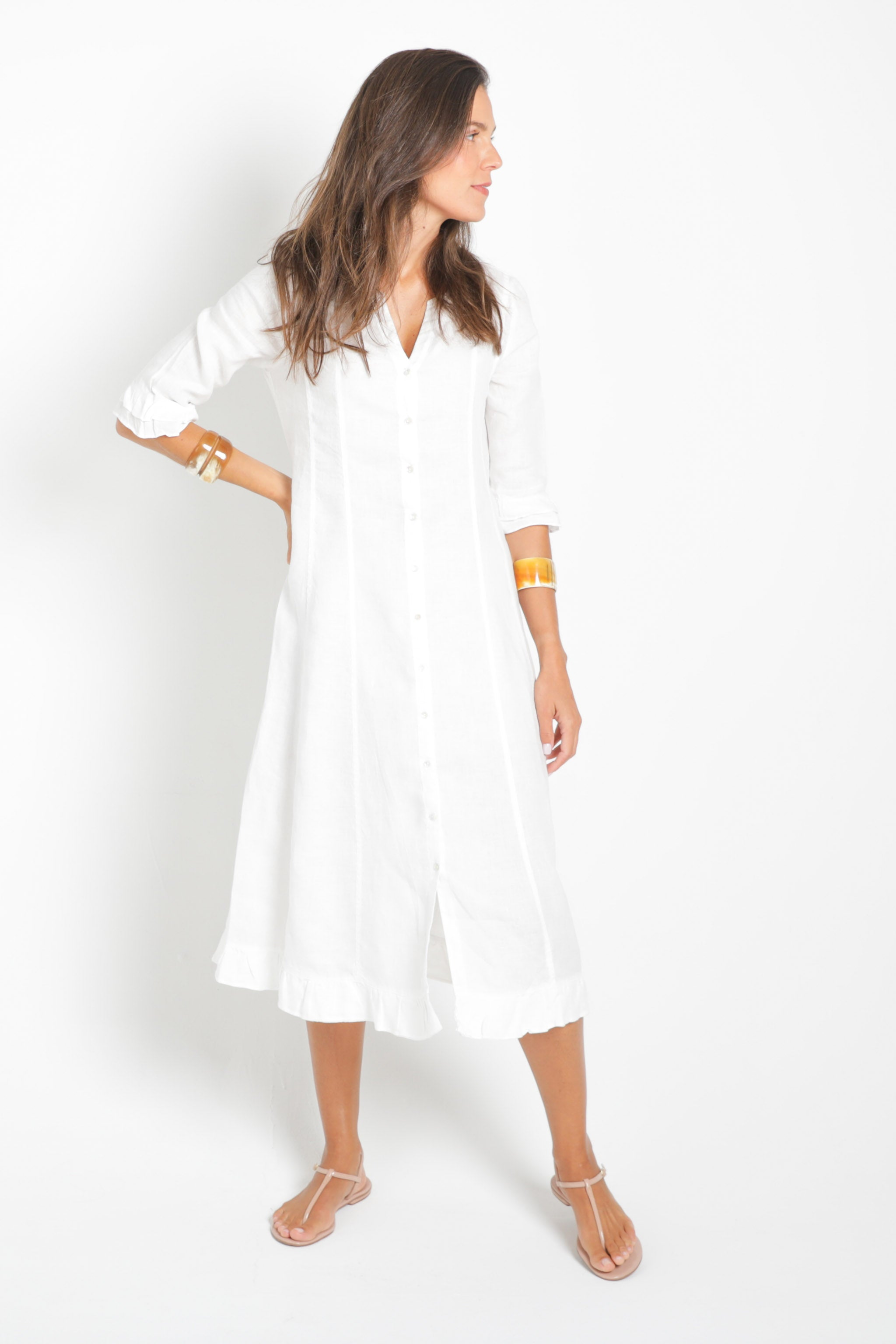 Bay Caftan Dress in White Linen