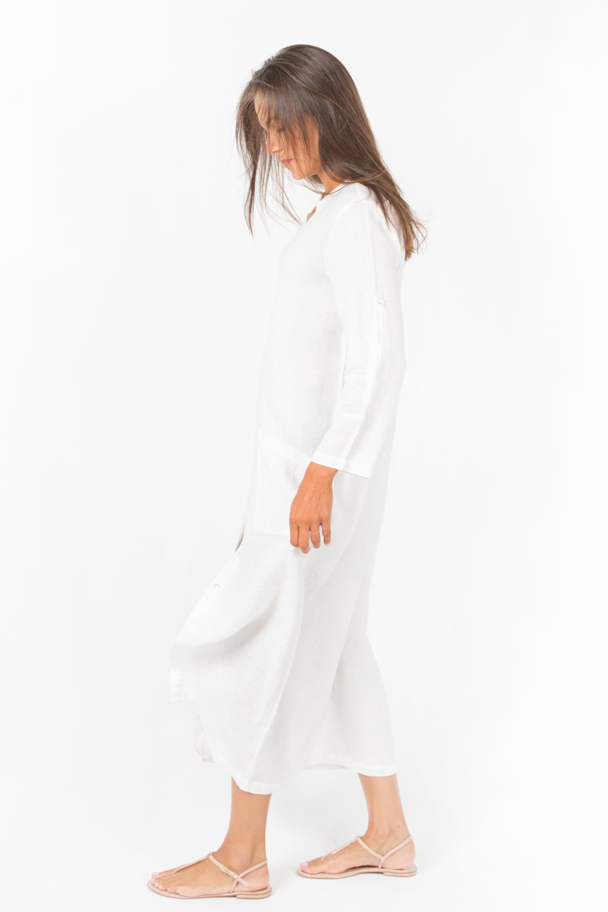 White Long Caftan Maxi Shirt-Dress in 100% Linen with Mao Collar
