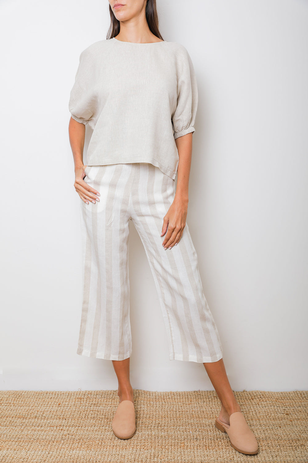 Arctic Pant in Beige Stripes Linen
