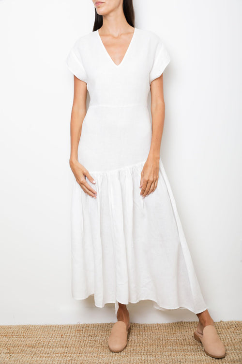 White Maxi Long Dress in 100% Linen V-Neck A-Line Silhouette