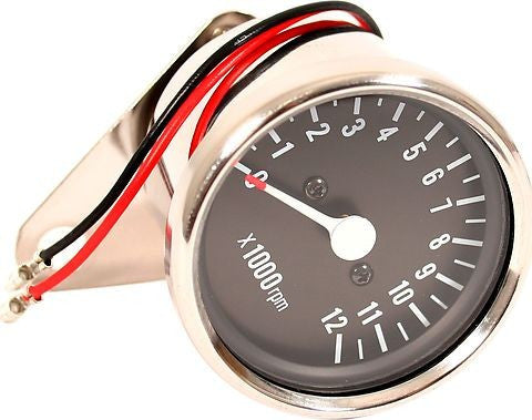 Mini Black Face Tach Gauge 60mm Diameter