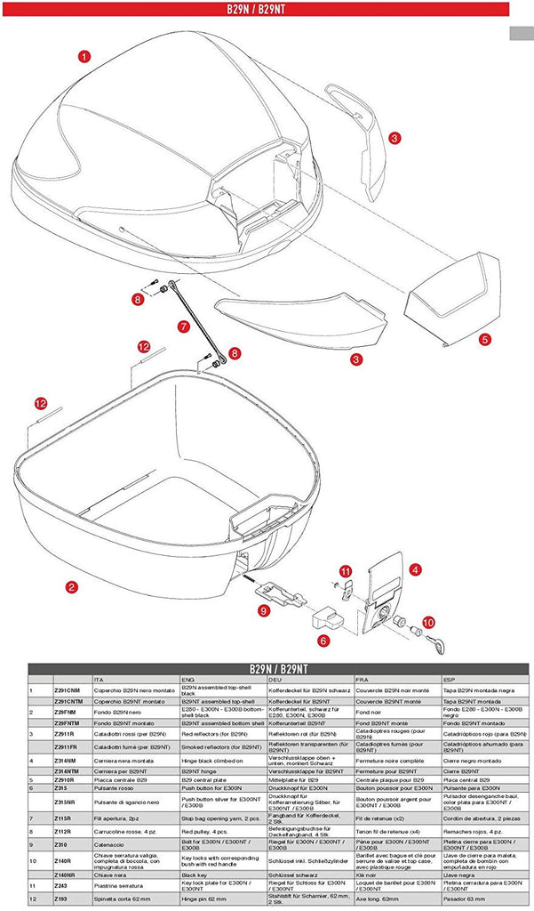 Givi B29N/NT Top Case Replacement Central Plate