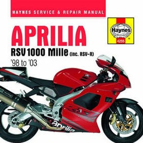 Aprilia RSV 1000 Mille Haynes Repair Manual covering the RSV Mille (1998 thru 2003) and the RSV Mille R (1999 thru 2003)