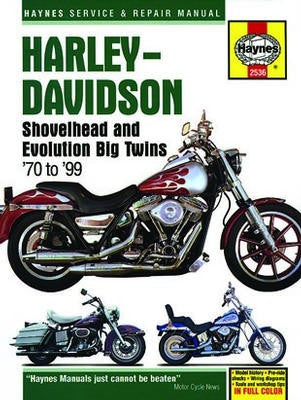 Harleymodel_Shovelhead and Evolution Big Twins Haynes Repair Manual for 1970 thru 1999 covering FL, FX, FLT, FLH, FXR, Dyna and Softail, with 1200 and 1340cc engines. (Does not include police models)