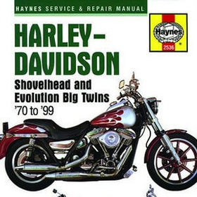 Haynes Repair Manual Harley Davidson Shovelhead and Evolution Big Twins 1970-1999 covering FL, FX, FLT, FLH, FXR, Dyna and Softail 1200 and 1340cc engines