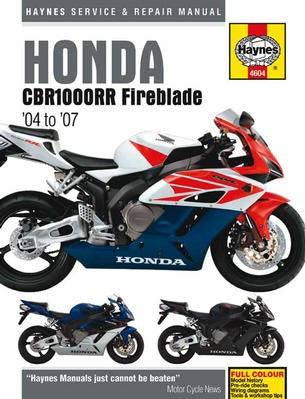 Honda CBR1000RR Fireblade Haynes Repair Manual for 2004 thru 2007