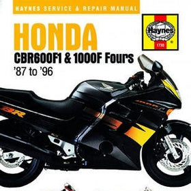 Honda CBR600F1 and 1000F Fours Haynes Repair Manual covering 598cc and 998cc from 1987 to 1996
