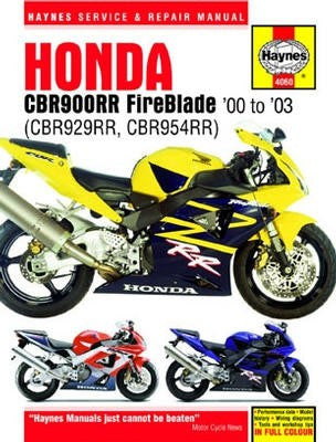 Honda CBR900RR Fireblade Haynes Repair Manual covering CBR929RR and CBR954RR for 2000 to 2003