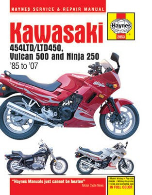 Kawasaki EN450 and 500 Twins Haynes Repair Manual covering EN450 (454LTD/LTD450) for 1985 to 1990, EN500 or Vulcan 500 for 1990 to 2007, and EX250 or Ninja 250 for 1986 to 2007