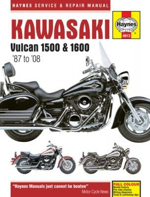 Kawasaki Vulcan 1500 and 1600 Haynes Repair Manual covering the 1500 (1987 thru 2008) and 1600 (2003 thru 2008)