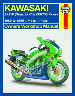 Kawasaki ZX750 Fours Haynes Repair Manual covering Ninja ZX-7 & ZXR750 748cc and 749cc models for 1989 to 1995
