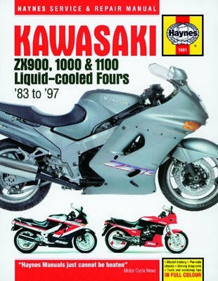 Kawasaki ZX900, 1000 and 1100 Haynes Repair Manual covering the liquid cooled ZX900 (1983-1986) 1000 (1985-1990) and 1100 (1990-1997)