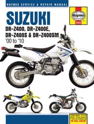 Suzuki DR-Z400, DR-Z400E, DR-Z400S and DR-Z400SM Haynes Repair Manual covering DR-Z400 (2000-2005) DR-Z400E (2000-2009) DR-Z400S (2000-2010) and DR-Z400SM (2005-2010)