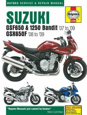 Suzuki GSF650 Bandit and GSX650F, 2007 thru 2008, GSX650FK8 for 2008, and GSF1250 Bandit, 2007 thru 2009 Haynes Repair Manual