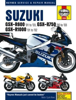 Haynes Repair Manual GSX-R600 (2001 to 2003), GSX-R750 for (2000 to 2003) and GSX-R1000 (2001-2002)