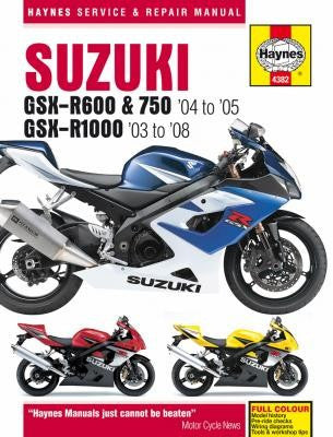 Suzuki GSX-R600 and 750 Haynes Repair Manual covering the GSX-R600 and 750 for 2006 thru 2009