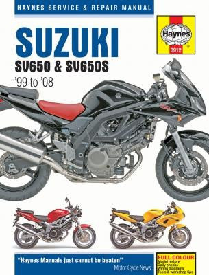 Suzuki SV650, SV650S, SV650SA, and SV650A Haynes Repair Manual covering 645cc models for 1999 to 2008