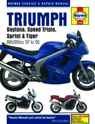 Triumph Daytona Haynes Repair Manual covering Daytona, Speed Triple, Sprint and Tiger 885cc and 955cc models for 1997 to 2005 (Does not include the 1050cc Speed Triple or Sprint)