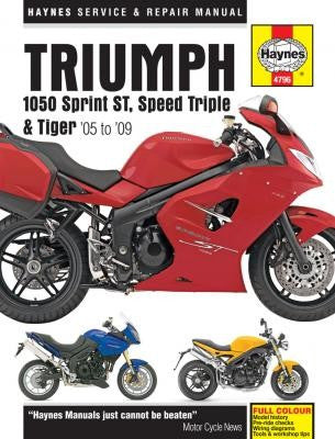 Triumph Haynes Repair Manual covering 1050 Sprint St., Speed Triple, and Tiger from 2005 thru 2009