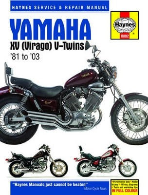 Yamaha XV (Virago) V-Twins Haynes Repair Manual covering 535cc, 699cc, 748cc, 920cc, 981cc and 1063 for 1981 to 2000