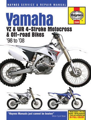 Yamaha Haynes Repair Manual covering the YZ and WR 4-Stroke Motocross and Off-Road Bikes for 1998 thru 2008