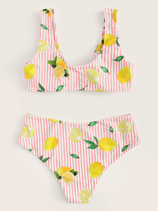 Random Striped and Lemon Print Knot Bikini Set - lemonandmelonstore