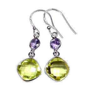 Sterling Silver Lemon Quartz & Amethyst Earrings