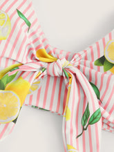 Load image into Gallery viewer, Random Striped and Lemon Print Knot Bikini Set - lemonandmelonstore