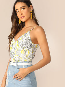 Double V Neck Lemon Print Cami Top - lemonandmelonstore