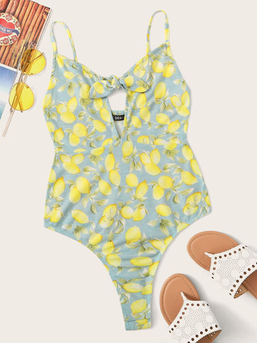 Lemon Print Cutout Tie Front Cami Bodysuit - lemonandmelonstore