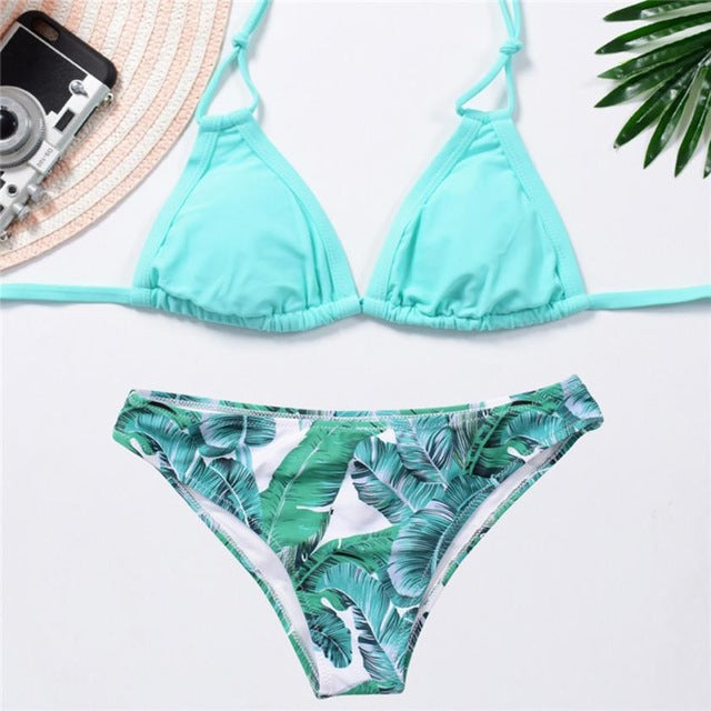 Fancinating Women Swimwears Leaf Print Bikini