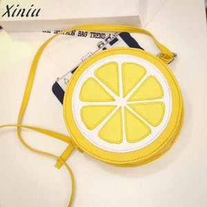 Fashion Women Messenger Bags Round Lemon Pattern