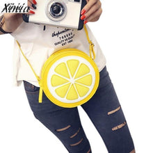 Load image into Gallery viewer, Fashion Women Messenger Bags Round Lemon Pattern