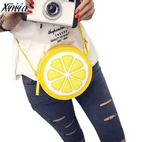 Fashion Women Messenger Bags Round Lemon Pattern - lemonandmelonstore