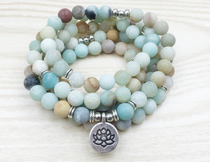 Matte Frosted Amazonite Mala - lemonandmelonstore