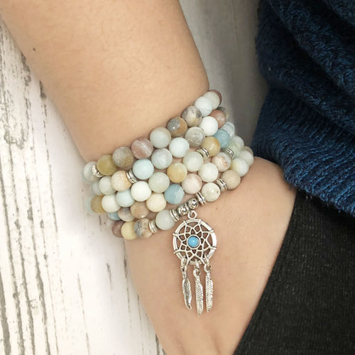 Amazonite Dream Catcher Mala - lemonandmelonstore