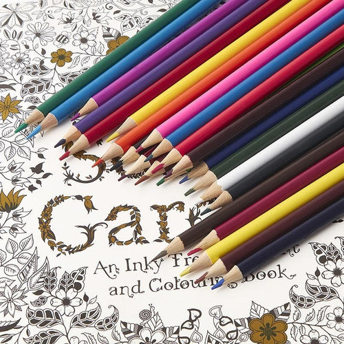Secret Garden & Enchanted Forest Coloring Books With 24 Colored Pencils Bundle Set - lemonandmelonstore