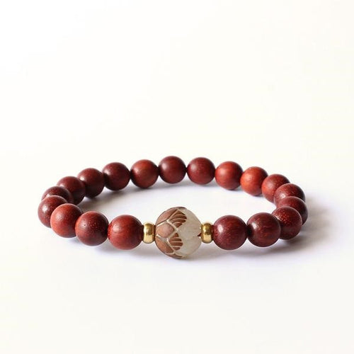 Red Sanders Wood Beads & White Carved Lotus - lemonandmelonstore