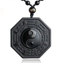 Load image into Gallery viewer, Obsidian Yin and Yang Pendant - lemonandmelonstore