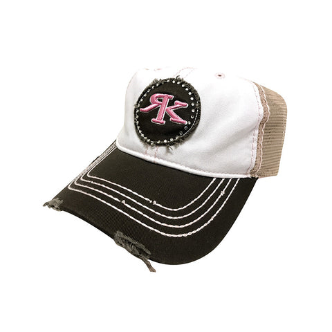 Ladies Brown and Pink Rhinestone Bling Hat