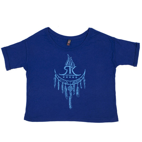 RK Royal Blue Long Night Moon Dream Catcher Ladies Shirt