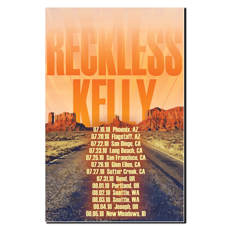 Reckless Kelly Out West Tour Poster (2018)