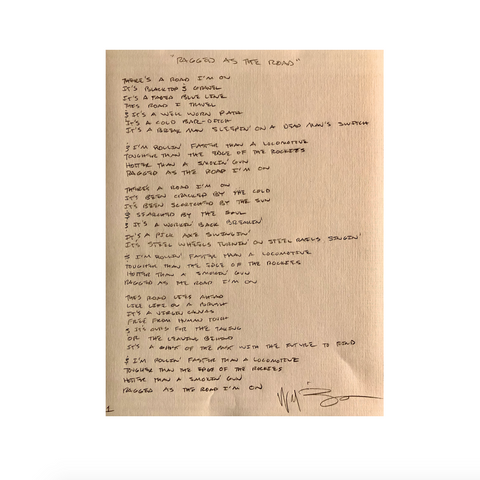 Willy Braun's Hand Written Song Lyrics