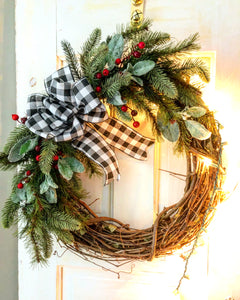 Holly's Winter Pine and Lambs Ear wreath