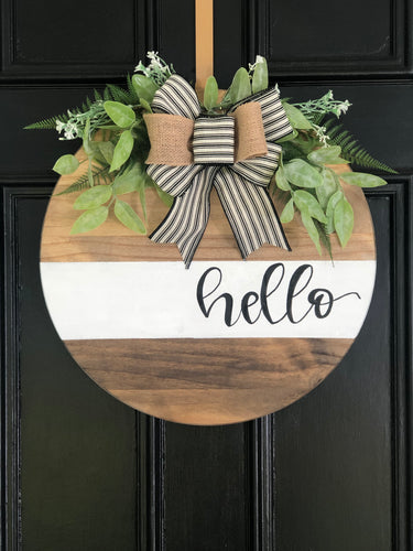 White stripe wood round wreath