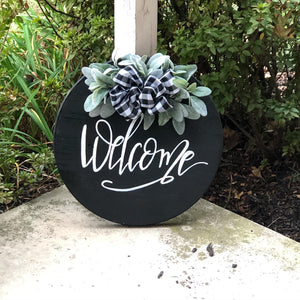 Welcome wooden round black
