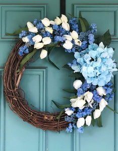 Blue tulip wreath
