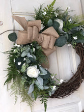 Load image into Gallery viewer, White rose greenery wreath